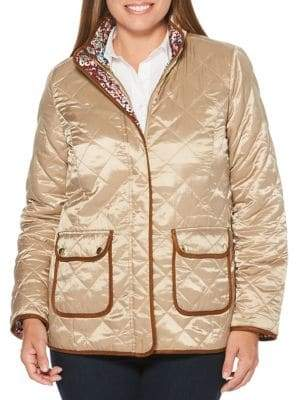 Rafaella Quilted Ditsy Floral Reversible Jacket
