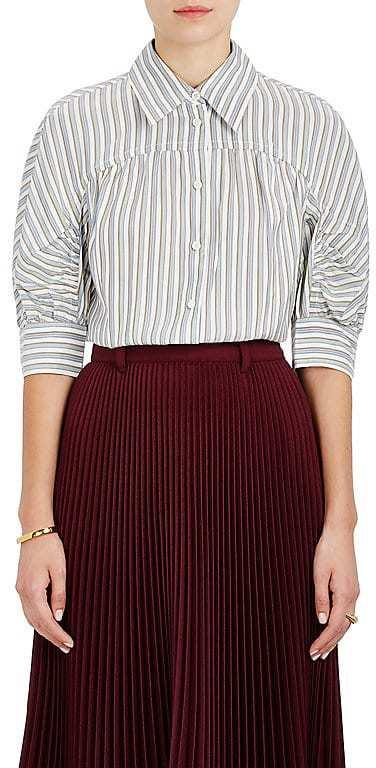 Prada Women's Striped Silk Tieneck Blouse