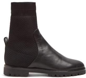 Aquazzura Verbier Leather Sock Boots - Womens - Black