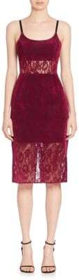 ABS by Allen Schwartz Sheer Panel Lace Sheath Dress