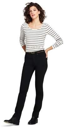 Lands' End Black No-Fade Black Jeans, Mid Rise Straight Leg