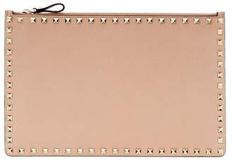 Valentino Rockstud Nude Leather Zip Pouch