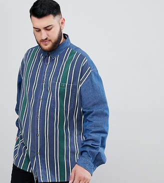 Asos DESIGN Plus oversized denim shirt with stripe front