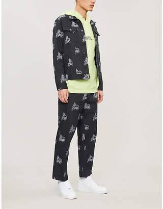 Obey Slim-fit patterned-denim jacket