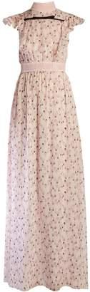 Giambattista Valli Flower bud-print ruffled silk-georgette gown