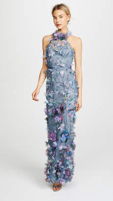 Marchesa Printed 3D Floral Halter Gown