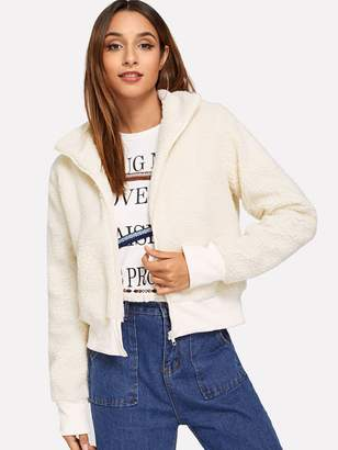 Shein Zipper Solid Teddy Jacket