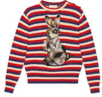 Gucci Wool lurex striped sweater with rabbit