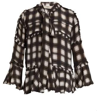 Preen Line Arlina Checked Woven Blouse - Womens - Black White