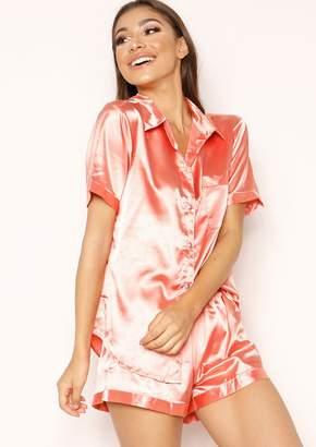 22998e03e16 Missy Empire Missyempire Emma Coral Satin Button Up Pyjama Set