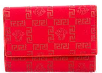 Versace Jacquard Leather-Trimmed Wallet