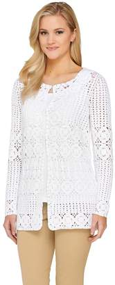 Liz Claiborne New York Hand Crochet Mixed Stitch Cardigan