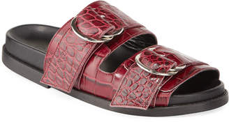 Ganni Dual Strap Croc-Embossed Leather Sandals