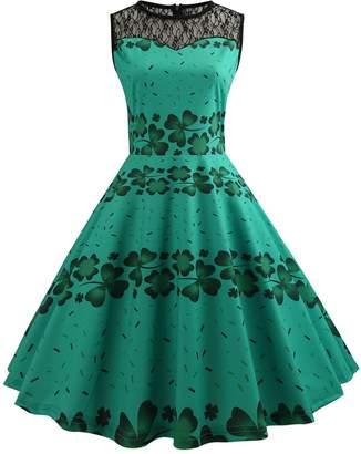 DAY Birger et Mikkelsen Là Vestmon Women's St. Patrick's Sleeveless Lace Dress Clover Print A Line Dress