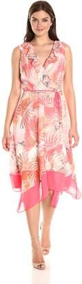 Sandra Darren Women's 1 Pc Sleeveless High Multi Chiffon Uneven Hem Dress, Pink/Coral