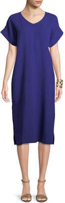 Eileen Fisher Cotton Gauze V-Neck Shift Dress, Petite