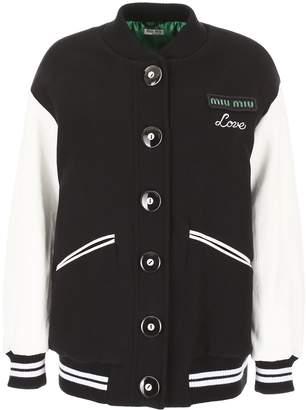 Miu Miu Wool And Leather Bomber Jacket
