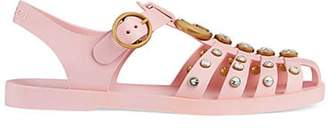 Gucci Women's Crystal-Embellished Rubber Sandals - Pink