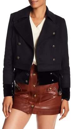 Veronica Beard Yara Wool Blend Leather Jacket