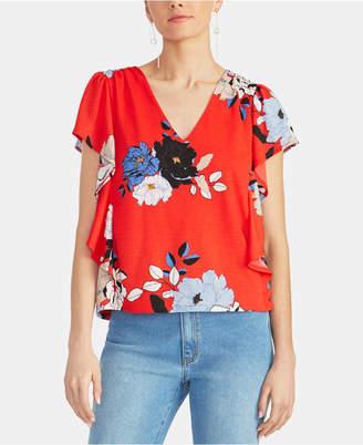 Rachel Roy Loreta Floral Ruffled Flutter-Sleeve Top