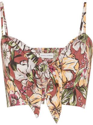 Faithfull The Brand De Fiori Cropped Floral-print Linen Top - Brown