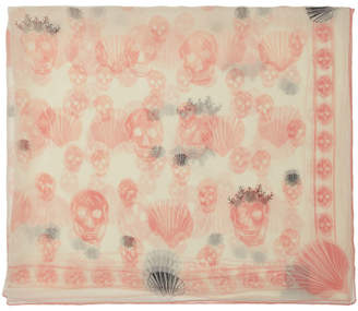 Alexander McQueen Off-White and Pink Silk Scalloped Skull Scarf