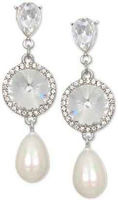 Badgley Mischka Silver-Tone Crystal & Imitation Pearl Drop Earrings