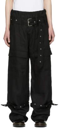 Marques Almeida Black Linen Cargo Pants