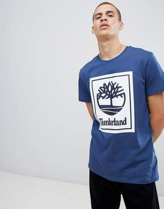 Timberland box logo print t-shirt in dark blue