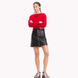 Tommy Hilfiger Leather-Like Zipper Skirt