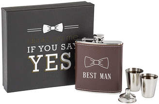 Cathy's Concepts Best Man Brown Leather Wrapped Flask Set