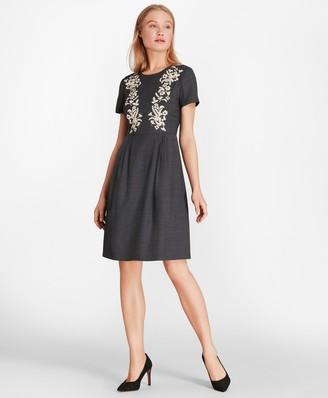 Brooks Brothers Floral-Embellished Wool-Blend Twill Dress