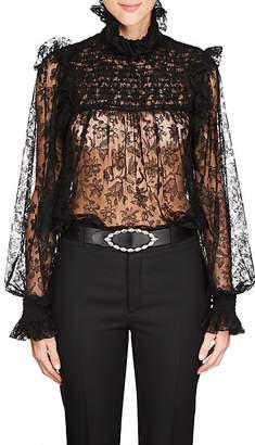 Saint Laurent Women's Smocked Lace Top