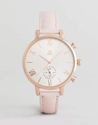 Asos Rose Gold and Blush Leather Watch