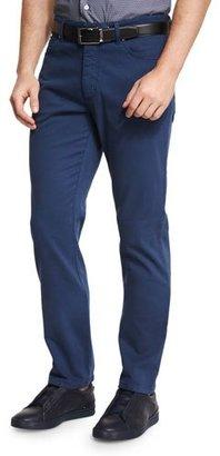 Ermenegildo Zegna Five-Pocket Stretch-Cotton Pants, American Navy Blue $345 thestylecure.com