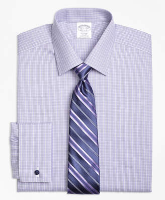 Brooks Brothers Regent Fitted Dress Shirt, Non-Iron French Cuff Double Windowpane
