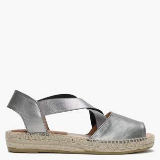 Kanna Silver Leather Elasticated Cross Strap Espadrilles