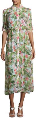 Tommy Bahama Beau Floral-Print Chiffon Shirtdress, Multi Pattern $69 thestylecure.com