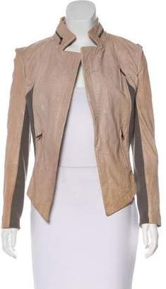 Yigal Azrouel Cut25 by Rib Knit-Trimmed Leather Jacket