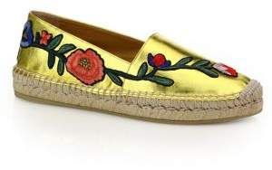 Gucci Pilar Floral-Embroidered Metallic Leather Espadrilles