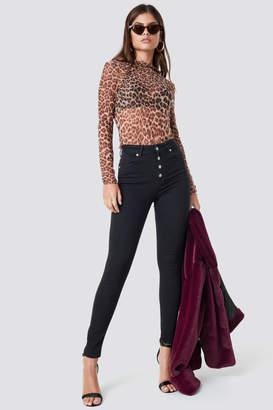 NA-KD Na Kd Skinny High Waist Button Zipper Jeans Black