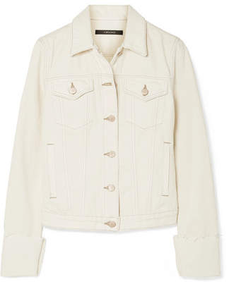 J Brand Slim Frayed Denim Jacket - Cream