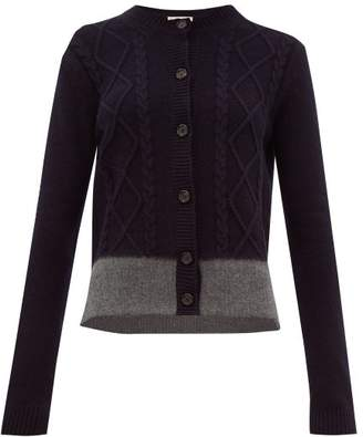 Marni Felted Hem Cable Knit Cardigan - Womens - Navy Multi
