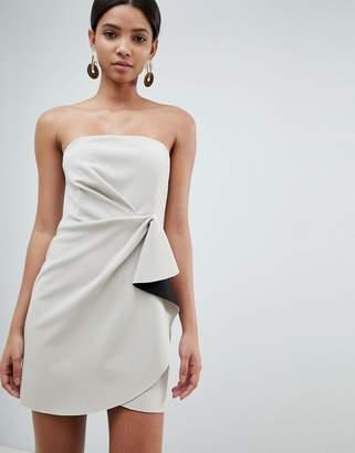 Asos Design DESIGN bonded bandeau origami front mini dress