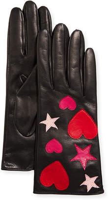 Portolano Napa Leather Heart and Star Gloves