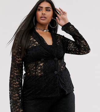 Club L London Plus sheer lace blazer
