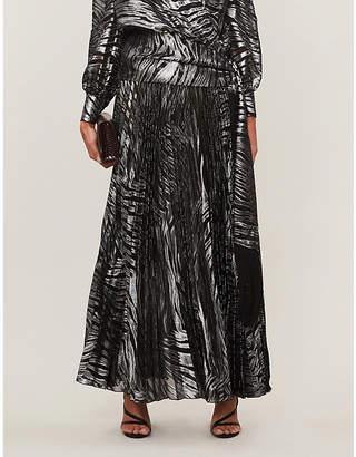 Dundas Tiger-print high-waisted fil-coupe maxi skirt