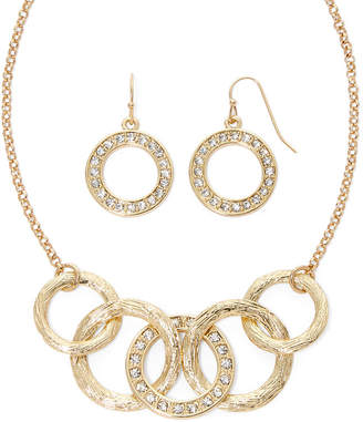 Liz Claiborne Gold-Tone Circle Necklace and Earring Set