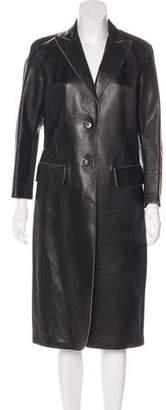 Donna Karan Leather Long Coat