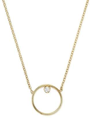 Chicco Zoë 14K Yellow Gold Paris Small Circle Diamond Necklace, 15""